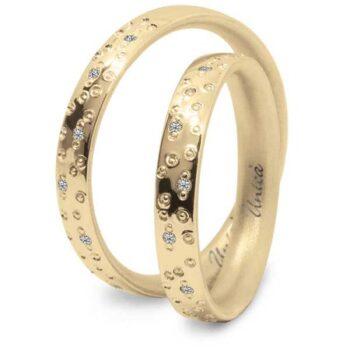 Fede Nuziale UNICA in oro Giallo e Diamanti