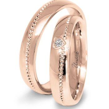 Fede Nuziale UNICA in oro Rosa e Diamante