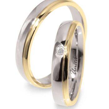 Fede Nuziale UNICA in oro Giallo, Bianco e Diamante