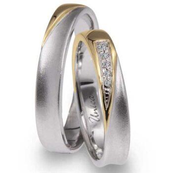 Fede Nuziale UNICA in oro Giallo, Bianco e Diamanti